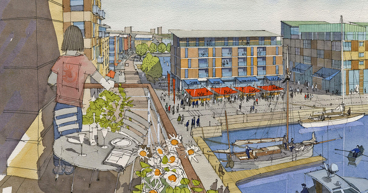 Artists Impression of the future view south over Millbay towards Clyde Quay