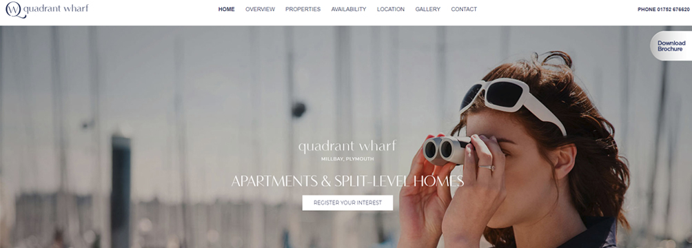 Website launched for Quadrant Wharf in Millbay, Plymouth.